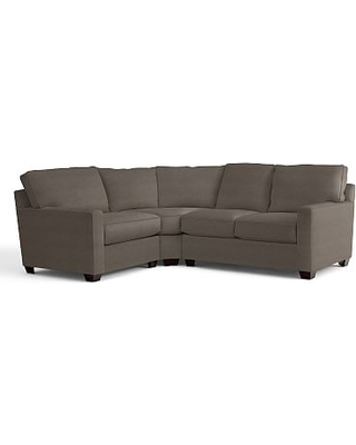 Buchanan Square Arm Upholstered Right Arm 3-Piece Wedge Sectional, Polyester Wrapped Cushions, Performance Heathered Tweed Graphite