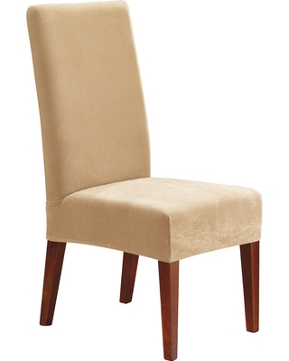 Stretch Pinpoint Short Dining Room Chair Cream (Ivory) - Sure Fit