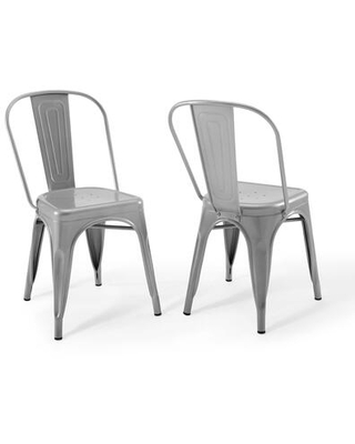 Promenade Collection EEI-3859-SLV Bistro Dining Side Chair Set of 2 in Silver