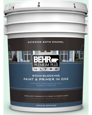 BEHR Premium Plus Ultra 5 gal. #470A-1 Window Pane Satin Enamel Exterior Paint and Primer in One