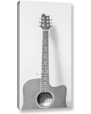 """Wrought Studio 'Grayscale Acoustic Guitar' Painting Print On Wrapped Canvas VRKG2139 Size: 36"""" H x 18"""" W x 2"""" D"""