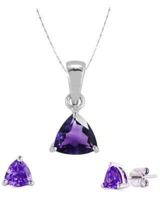 Set of Sterling Silver Trillion Cut Pendant and Earring with Natural Amethyst-with 18 Inch Chain