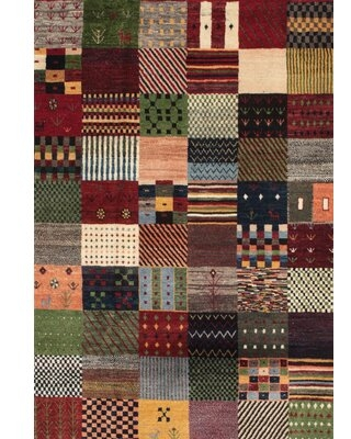 Contemporary Green/Brown/Red Area Rug