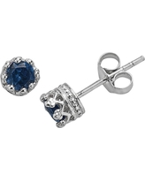 1/2 Tcw Tiara Sterling Silver 4mm Round-cut Sapphire Crown Earrings