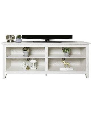 58IN Wood TV Stand, One Size , White