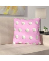 """East Urban Home Square Volleyball Throw Pillow URBR7186 Size: 16"""" x 16"""", Color: Pink"""
