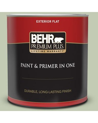 BEHR PREMIUM PLUS 1 qt. #420E-3 Spring Hill Flat Exterior Paint and Primer in One