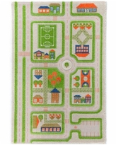 """Ivi Traffic 3D Childrens Play Mat & Rug in A Colorful Town Design with Soccer Field, Car Park&Roads, 59""""L x 39""""W - Green"""