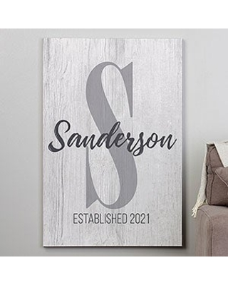 Farmhouse Initial Accent 28x42 Personalized Canvas Print