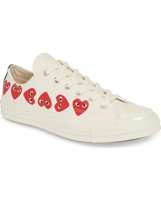 Comme Des Garcons Play X Converse Chuck Taylor Low Top Sneaker, Size 10 Women's - Ivory