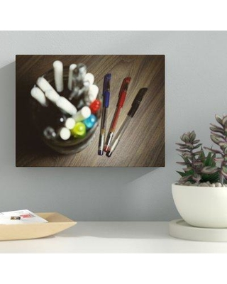 "Ebern Designs 'Pens and a Pen Jar' Photographic Print on Wrapped Canvas BF040026 Size: 30"" H x 40"" W x 2"" D"