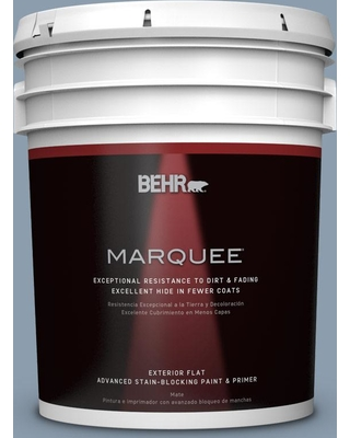BEHR MARQUEE 5 gal. #icc-65 Relaxing Blue Flat Exterior Paint and Primer in One