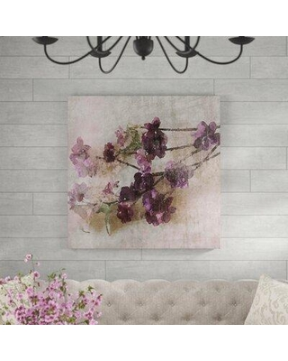 """Ophelia & Co. 'Purple Flowers 2' Painting Print on Wrapped Canvas MH-MWWORL-816101-C Size: 24"""" H x 24"""" W x 1.5"""" D"""