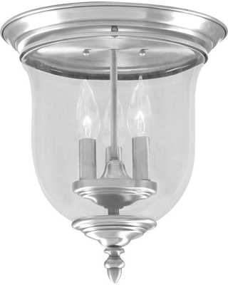 Livex Lighting 3-Light Brushed Nickel Flush Mount with Clear Glass Shade