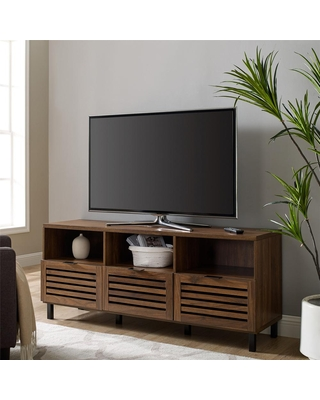 Welwick Designs 58 in. Dark Walnut Wood TV Stand Fits TVs up to 65 in. with Slatted Doors