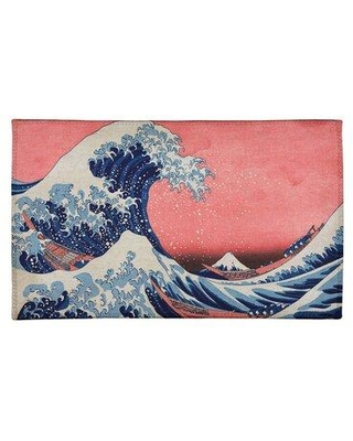 East Urban Home The Great Wave Chenille Red Area Rug FCLR9678 Rug Size: Rectangle 2' x 3'