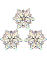 Iridescent Rhinestone Flower Shank Buttons - 24mm