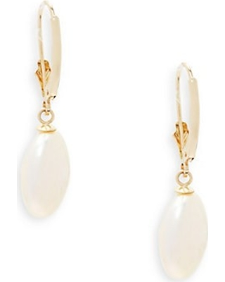 Biwa 13MM White Coin Cultured Freshwater Pearl and 14K Yellow Gold Drop Earrings