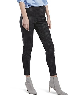 HUE Women's Seamed Luxe Ponte Skimmer Legging, Black - Printed Plaid, M