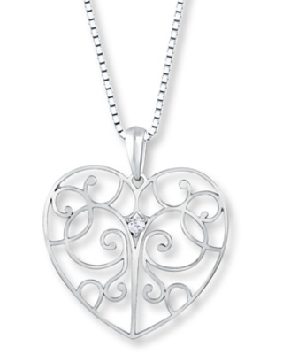 Heart Necklace 1/20 carat Round Diamond Sterling Silver