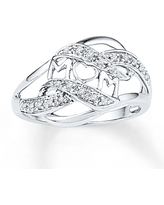 Diamond Mom Ring 1/10 ct tw Round-cut Sterling Silver