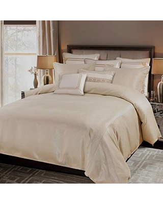 HiEnd Accents Marilyn 3 PC Duvet Set, Super King Gold, Champagne Gold