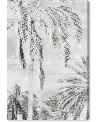 """Wynwood Studio 'Palm Trees Neutral Sparkle' Floral and Botanical Wall Art Canvas Print - White, Gold, 20"""" x 30"""""""