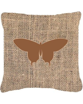 """East Urban Home Elegant Butterfly Burlap Square Indoor/Outdoor Throw Pillow EAAS6043 Size: 18"""" H x 18"""" W x 5.5"""" D Color: Brown"""