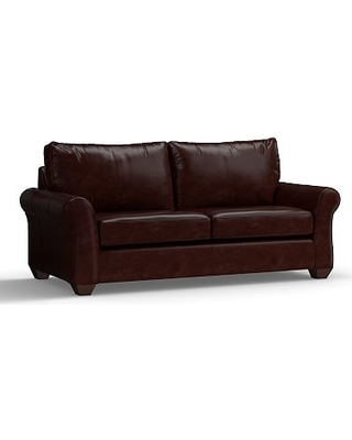 """PB Comfort Roll Arm Leather Sofa 83.5"""", Polyester Wrapped Cushions, Leather Signature Espresso"""