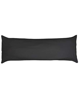 Betty Dain Stretch Jersey Body Pillowcase, 100% Knit Cotton, Soft Covering for Body Pillow, Dual Zippers for Easy Off/On, Machine Washable, Fits Most Body Pillow Styles, 21 x 54 inches, Black