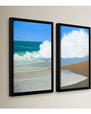 Breakwater Bay Red Pail In The Sand 2 Piece Framed Painting Print Set BRWT2298