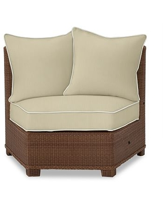 Palmetto Rounded Armless Sectional Cushion Slipcover, Sunbrella(R) Contrast Piped; Linen Sand