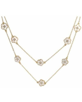 BLING Pearl Clover Flower 36'' Necklace