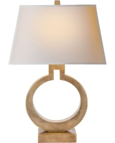 Madison Table Lamp, Antique Brass, Cotton Shade