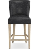 Trevor Counter Stool, Grey, Italian Distressed Leather, Wolf