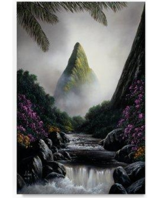 "Trademark Fine Art 'Mountain Scene' Oil Painting Print on Wrapped Canvas ALI20378-C Size: 32"" H x 22"" W"