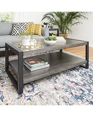 Walker Edison Industrial Modern Rectangle Metal Base and Wood Coffee Table Living Room Accent Ottoman, 48 Inch, Charcoal