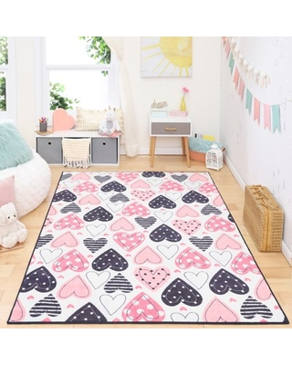 "Mohawk Home Prismatic Lovely Hearts Pink Precision Printed Area Rug, 3'4""x5', Pink & White"