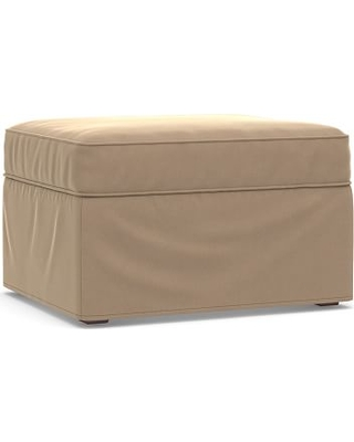 Cameron Roll Arm Slipcovered Ottoman, Polyester Wrapped Cushions, Performance Plush Velvet Camel