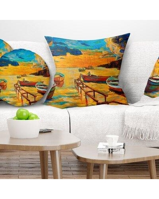 "East Urban Home Seascape Boats in Beautiful Sea Pillow VSIF0869 Size: 18"" x 18"" Product Type: Throw Pillow"