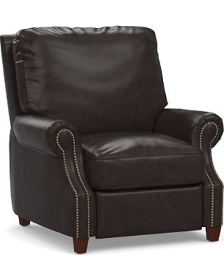James Leather Power Tech Recliner, Down Blend Wrapped Cushions, Vintage Midnight