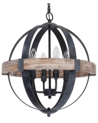 4-Light Candle Style Globe Chandelier with Wood Accents