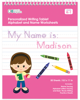Spark & Spark Art Activity Books - Brown-Haired Girl Personalized Writing Practice Tablet