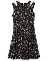 Gabby Skye Women's Sleeveless Round Neck Lace Fit and Flare Dress w. Cut Out, Black/Pink, 6