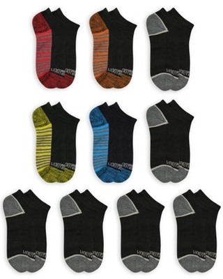 Fruit of the Loom Boys Socks, No Show Zone Cushion 10 Pack Sizes S - L