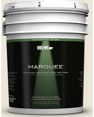 BEHR MARQUEE 5 gal. #ppl-67 Quarried Limestone Semi-Gloss Enamel Exterior Paint and Primer in One