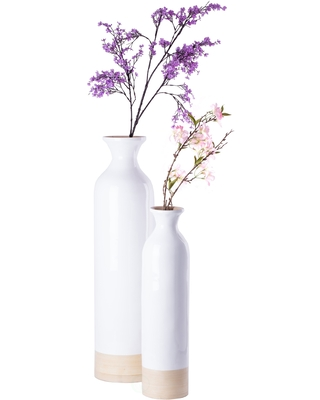 Deals On Cylinder Shaped Tall Spun Bamboo Floor Vase Glossy White Lacquer Natural Bamboo Large