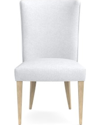 Trevor Dining Side Chair, Perennials Performance Basketweave, White, Heritage Grey Leg