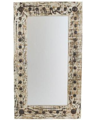 """Gracie Oaks Rectangle Handcrafted Rustic Distressed Accent Mirror GRKS3061 Size: 48"""" H x 28"""" W"""