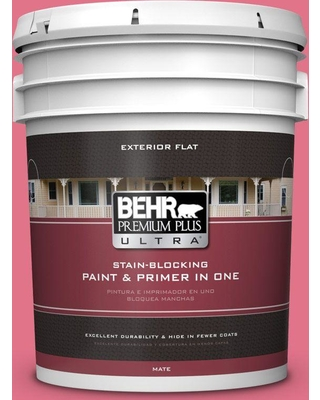 BEHR Premium Plus Ultra 5 gal. #120B-6 Watermelon Pink Flat Exterior Paint and Primer in One